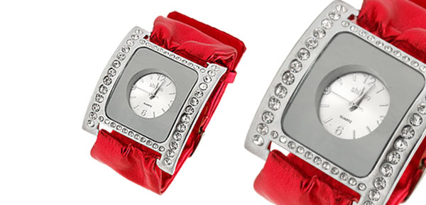 Red Soft Ribbon Faux Leather Fashion Rhinestone Ladies Watch