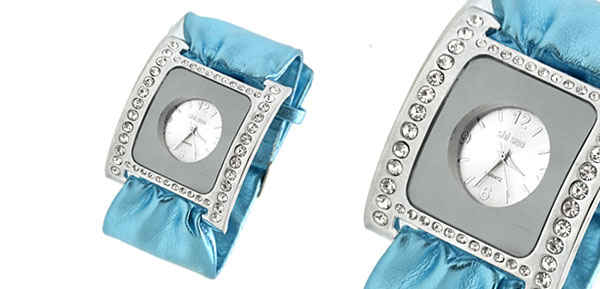 Blue Soft Ribbon Faux  Leather Fashion Rhinestone Ladies Watch