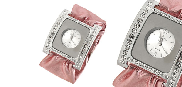 Pink Soft Ribbon Faux Leather Fashion Rhinestone Ladies Watch