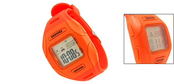 Orange Digital LCD Plastic Wrist Sports Alarm Quartz Watches