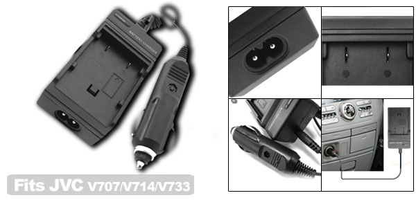 Compact Digital Camera Battery Charger for JVC V707 V714 V733 AC 100V-240V