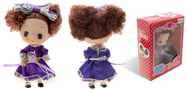 Moppet Mini Plastic Brown Hair Rubber Doll with Purple Skirt