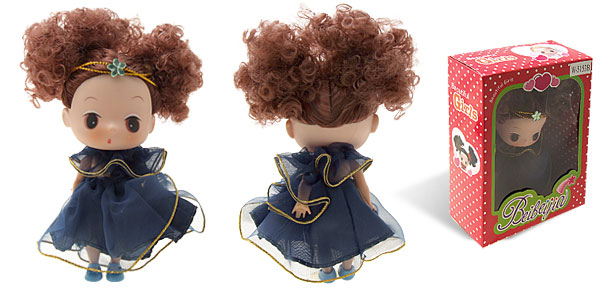 Moppet Mini Plastic Heavy Blue Skirt With Gilt - Edged Rubber Doll