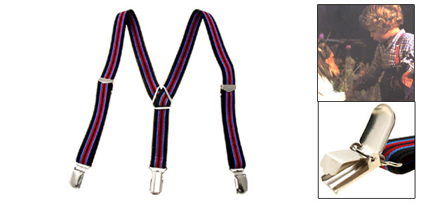 Children's Suspenders Brace with Red Blue Stripe LB2