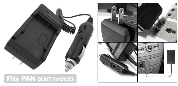 US Plug 100-240V Travel Camera Battery Charger for Panasonic CGA-DU07 CGA-DU14 CGA-DU21