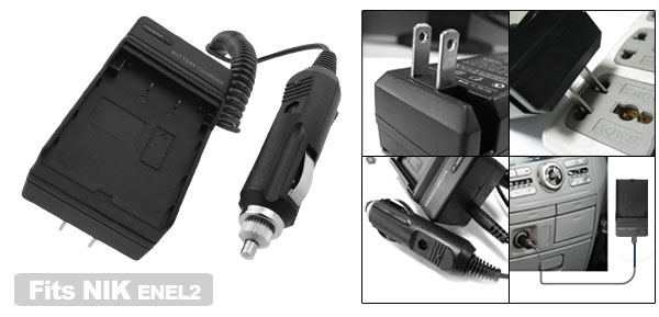 US Plug AC100-240V Camera Battery Charger for Nikon ENEL2 EN-EL2 Coolpix 2500 3500