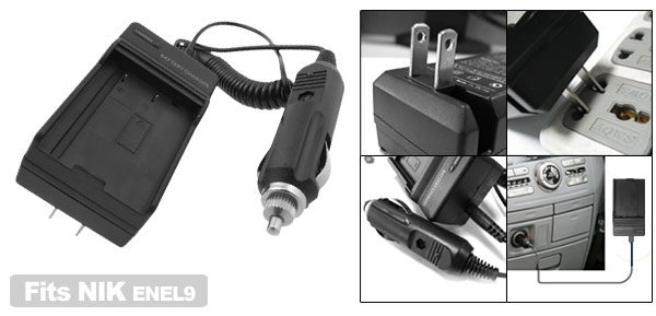 Travel Digital Camera Battery Charger for Nikon ENEL9 EN-EL9 D40 D40x