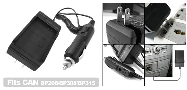 Digital Camera Travel Battery Charger for Canon BP208 BP308 BP315