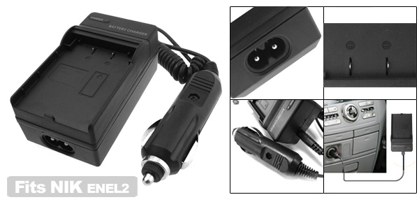 Camera Travel Battery Charger for Nikon ENEL2 EN-EL2 Coolpix 2500 3500