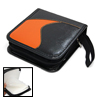 CD DVD Orange and Black Leather Carrying Case Storage Holder Wall...