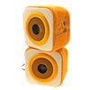 Pair of Yellow Square Desk Speakers Sound Boxes