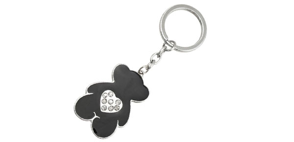 Beautiful Rhinestone Metal Black Bear Keychain Pendant Keyring