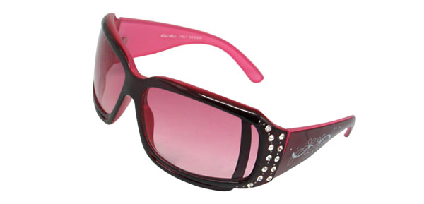Ladies Pink Rhinestone Sunglasses