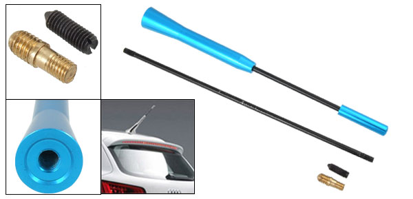 Length Adjustable Blue Decorative Auto Car Alumnium Antenna DX-402