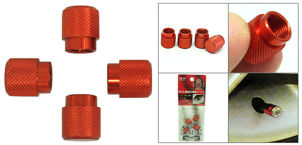 Columniform 4 PCS Car Auto Tire Valve Stem Covers Caps Set Crimson