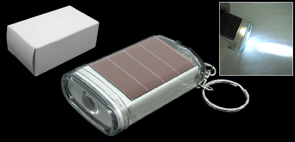 Mini Pocket Keychain 1 White LED Solar Powered Flashlight