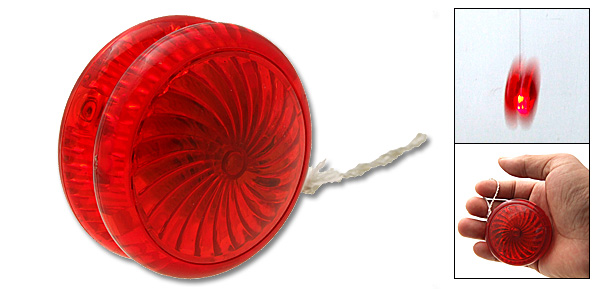 Plastic Safety Transparent Children's Flash Light Yo-Yo Toy Red