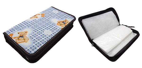 Rectangle Fabric CD Carrying Storage Case with Grids and Bears Pattern