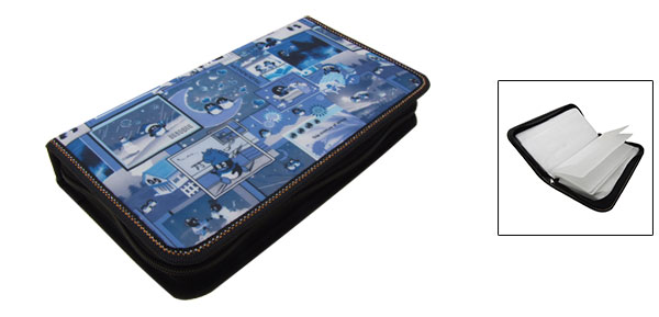 Blue Rectangle CD Carrying Storage Case Bag Holder with Penguin Pattern