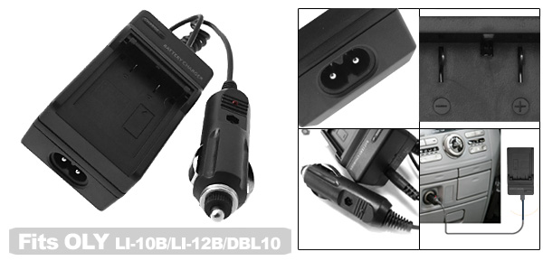 Digital Camera Battery Home Travel Charger For OLYMPUS LI-10B LI-12B SANYO DBL10