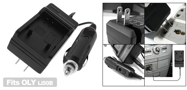 Digital Camera Battery Home Travel Charger For Olympus Li50B