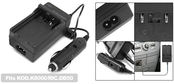 Digital Camera Battery Car Home Charger for Kodak K8000 Ricoh DB-50