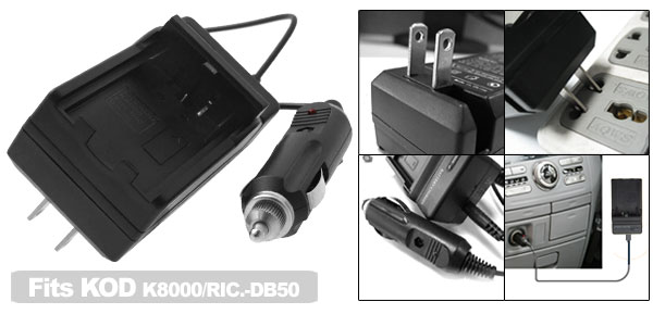 US Plug AC100-240V Camera Battery Travel Home Charger for Kodak k8000 RIC DB50