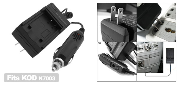 Digital Camera Battery Home Travel Car Charger for Kodak k7003