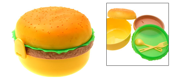 Hamburger Shape Plastic Bento Lunch Box with Mini Fork Spoon Set