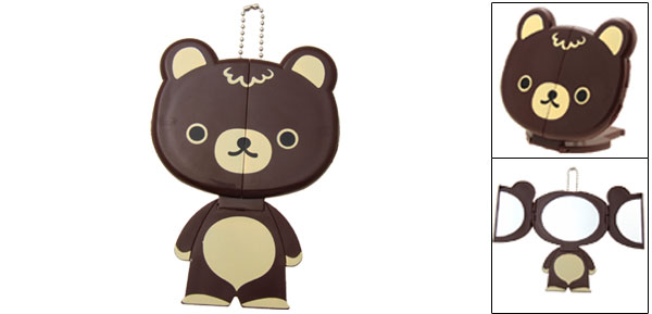 Pocket Lovely Brown Bear Compact Travel Make Up Mirror with Stand
