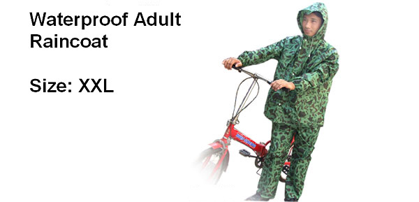 Waterproof Adult Camouflage Rain Coat (XXL Size)