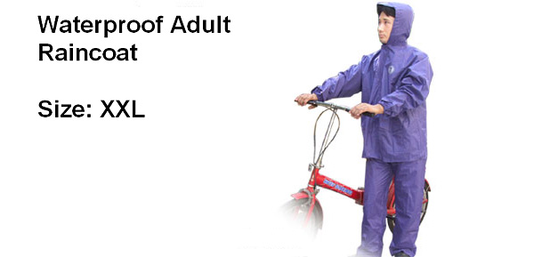 Purple Waterproof Hooded Zipper Front Rain Coat (XXL)