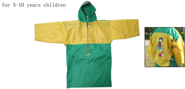 Yellow and Green Football Boy Pattern Hooded Children's Raincoat Rain Jacket