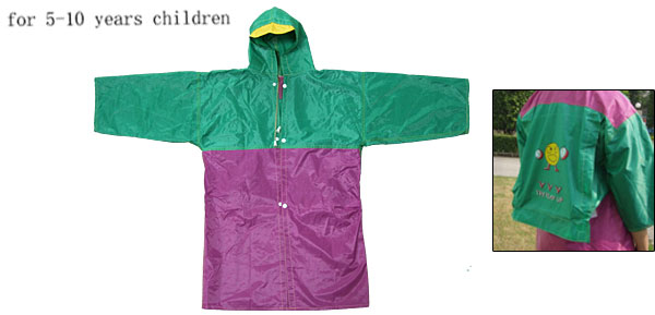 Green and Purple Smiling Face Pattern Hooded Children's Raincoat Rain Jacket Shadow