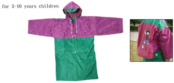 Green and Purple Football Boy Pattern Hooded Children's Raincoat Slicker Rain Shadow