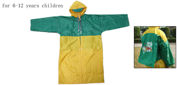 Green and Yellow Children's Raincoat Rainwear with Big Schoolbag Shield
