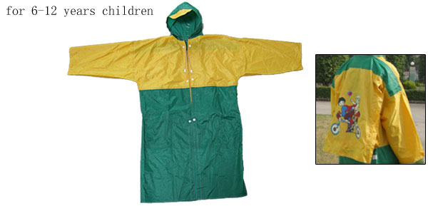Boy Girl Green Yellow Children's Raincoat Rainwear w/Schoolbag Shield