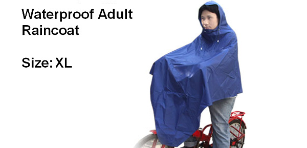 Blue Vinyl Gap Raincoat Raincoat Poncho for Adult Bicycle Rider (XL Size M1003)