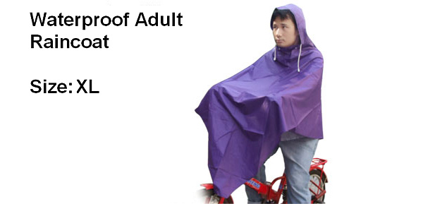 Purple Vinyl Raincoat Poncho for Adult Bicycle Rider (XL Size M1003)