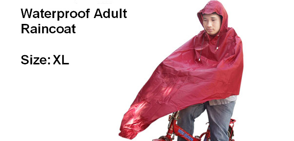PVC Raincoat Rainwear Poncho Cape for Adult Bicycle Rider (XL Size)
