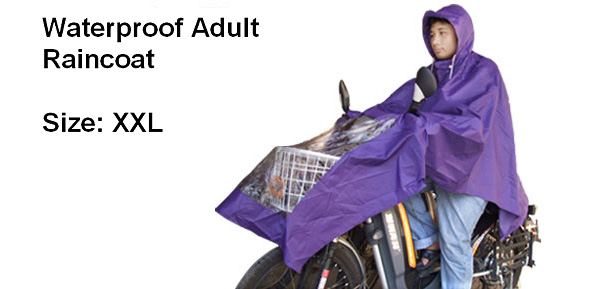Purple Hooded Motorcycle Raincoat Rain Shadow Poncho (XXL M1005)