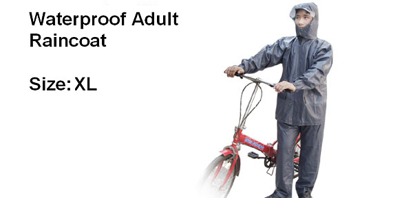 Indigo Nylon Waterproof PVC Coating Adult Rain Suit Raincoat (XL Size)