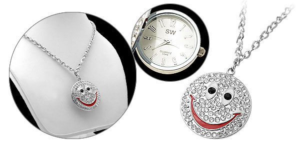 Smile Face Design Crystal Beads Necklace Watch White Dial