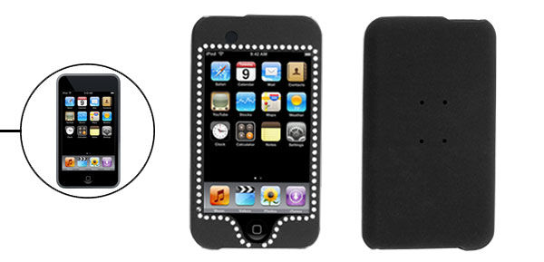 Plastic Black Rubber Wrapped Rhinestone Case for iPod Touch 1st Generation