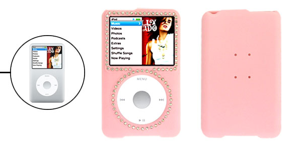 Plastic Pink Rhinestone Case for iPod Classic 80GB