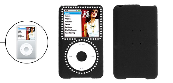 Black Rubber Covered Rhinestone Plastic Case for iPod Classic 80GB