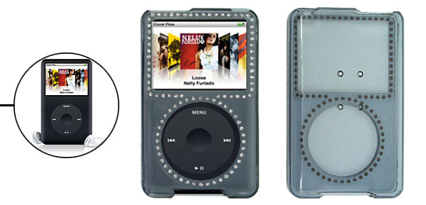 Transparent Gray Plastic Case with Rhinestone for iPod Classic 80GB