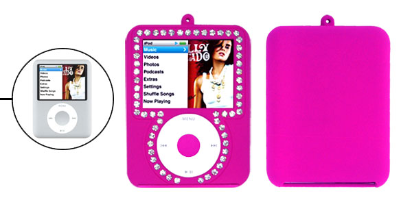 Rhinestone Rubber Covered Purple Plastic Case for iPod Nano 3rd Generation