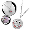 Silvery Shiny Rhinestone Smiling Face Necklace Watch