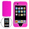 Plastic Purple Rubber Covered Rhinestone Case for iPod Touch 1st ...